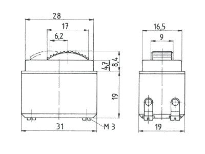 Maßzeichnung Marquardt 0045.1402 Abmessungen Dimensions